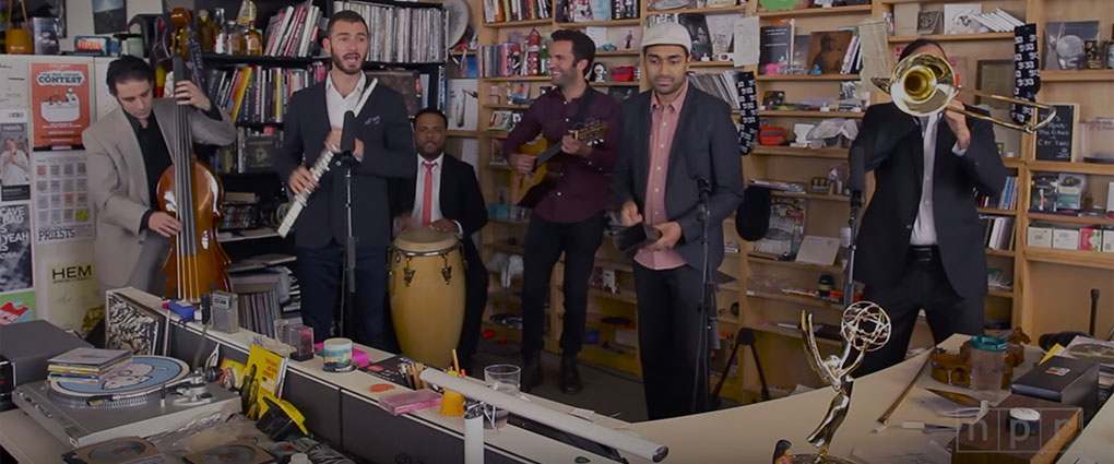 Screenshot of Los Hacheros' NPR Tiny Desk concert video.